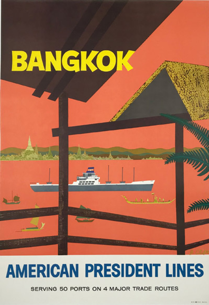 Bangkok American President Lines Original Vintage Travel Posterby J. Clift from 1958.