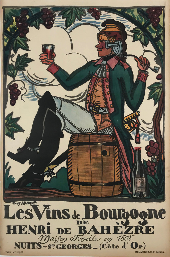Les Vins de Bourgogne  by Arnoux 1916 France. This vertical French poster features a man sitting on a barrel in a vineyard holding up a glass of wine and a pipe. Original Antique Posters.