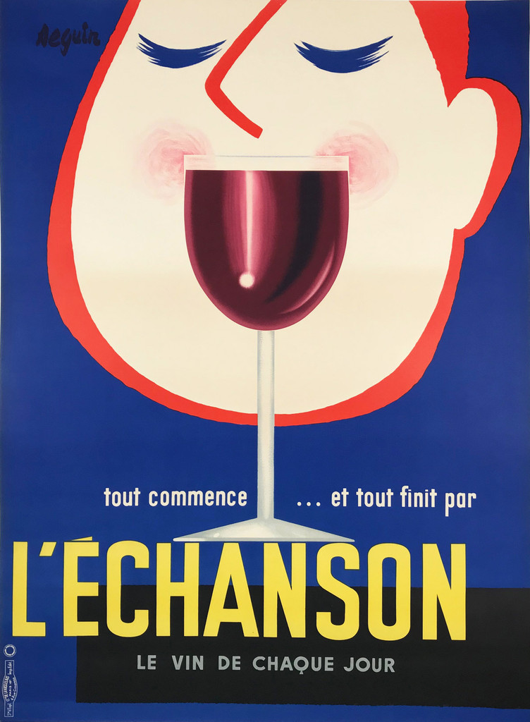 L Echanson by Seguin 1950 France. French poster features a cartoon face with his eyes closed behind a glass of red wine against a blue background. Original Antique Posters.