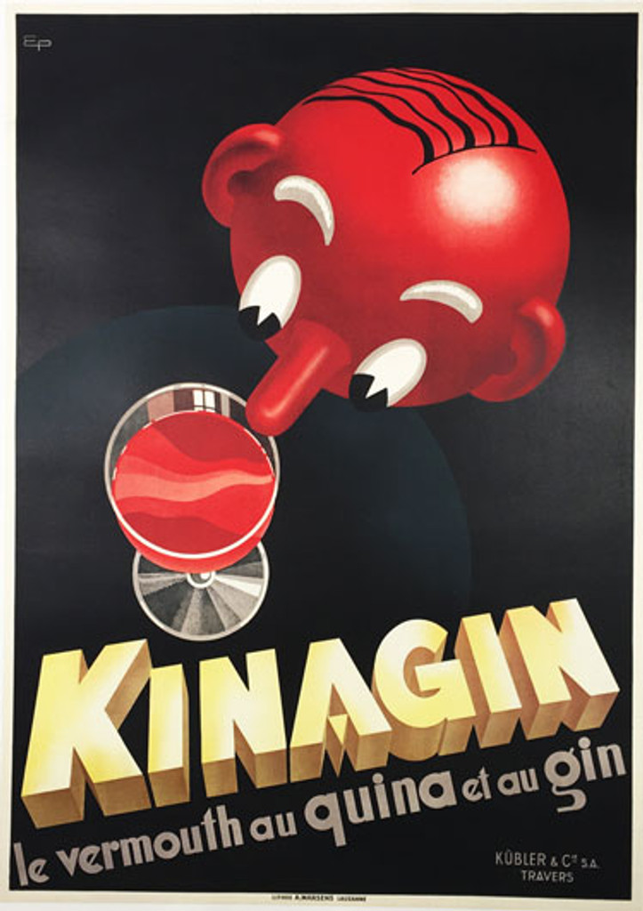 Kinagin le vermouth au quina et au gin by Eugene Patkevitch 1941 Switzerland. Swiss original vintage poster features a red head poking his nose over the table to a glass of liquor. Original Antique Posters.