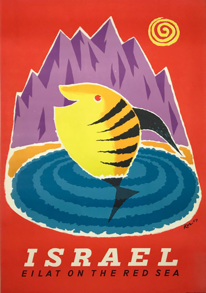 Israel Eilat On The Red Sea original vintage travel poster by Paul Kor (Kornowski) from 1959.
