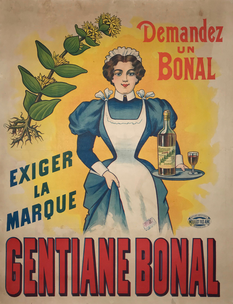 Gentiane Bonal by Affiches Moullot 1900 France. French wine and spirits poster features a waitress holding a tray with a bottle and glass. The maid is wearing a blue dress and white apron and hat. Original Antique Posters.