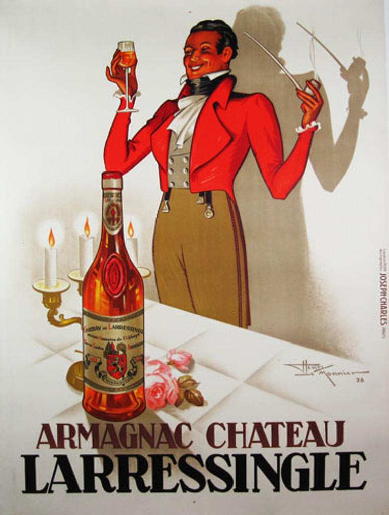 Armagnac Chateau Larressingle by Le Monnier 1938 France. French wine and spirits poster features a man with a pipe and a glass standing behind a table with a bottle and candles. Original Antique Posters.