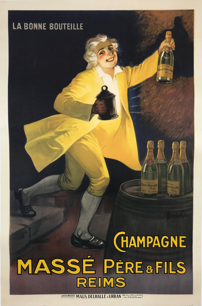 Champagne Masse Pere and Fils Reims by Marcellin Auzolle 1920 France. French wine and spirits poster features a happy man dressed in a yellow suit using his lantern to find Champagne in a cellar. Original Vintage Poster.