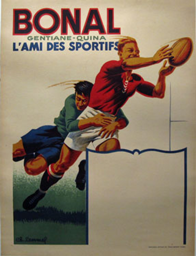 Bonal Gentiane-Quina by Ch. Lemmel from 1930 France. This French poster features two men playing in rugby. One men holding other men who trying to catch a rugby ball.