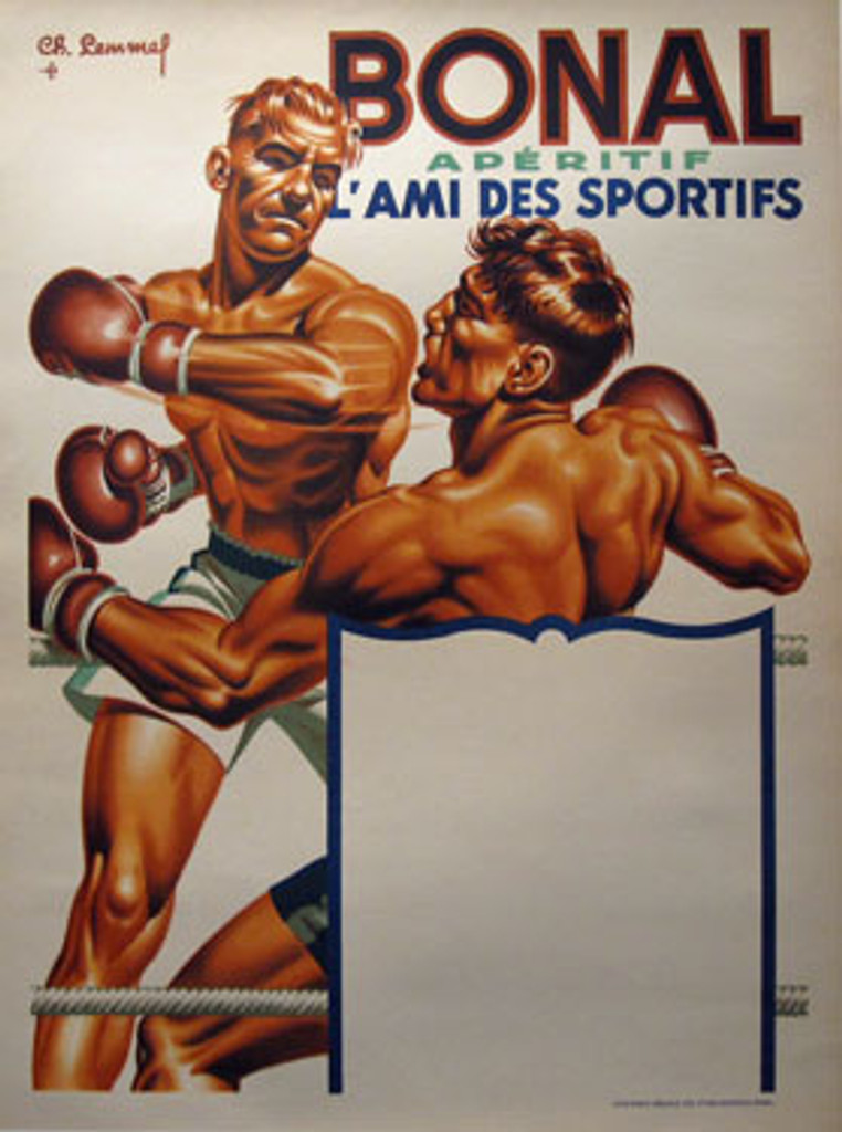 Bonal Aperitif Original Poster by Ch. Lemmel from 1930 France. French wine and spirits poster features two men fighting on boxing ring.