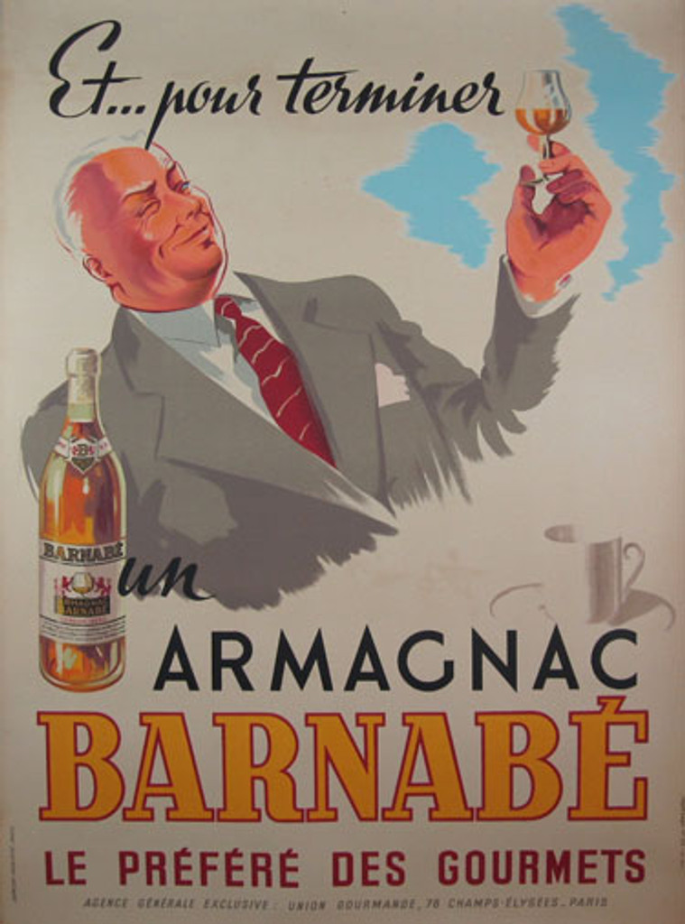 Armagnac Barnabe by Imp. Damour 1945 France. French wine and spirits poster features a white haired man in a gray suit and red tie holding up a glass. Original Vintage Poster.