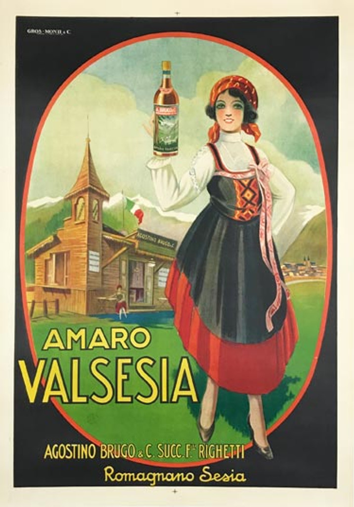 Amaro Valsesia 1920 Italian.Italian wine and spirits poster features a traditionally dress woman holding up a bottle standing in the grass in front of a building with a steeple. Original Vintage Posters.