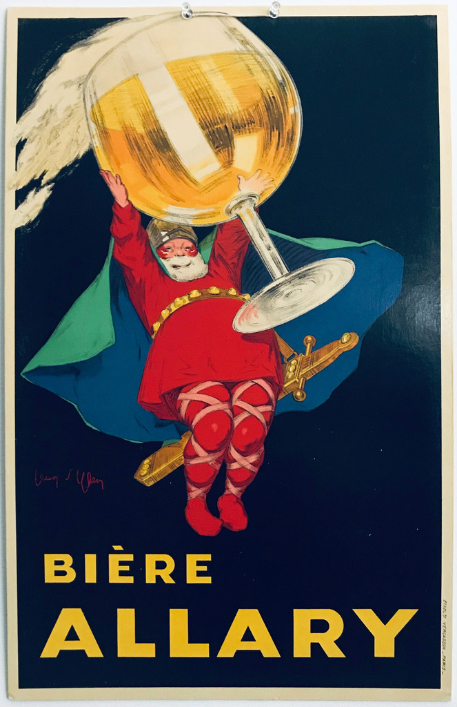 Biere Allary original vintage poster by Jean D'ylen 1920 France. French wine and spirits poster features a bearded man holding a giant stemmed glass of beer over his head.