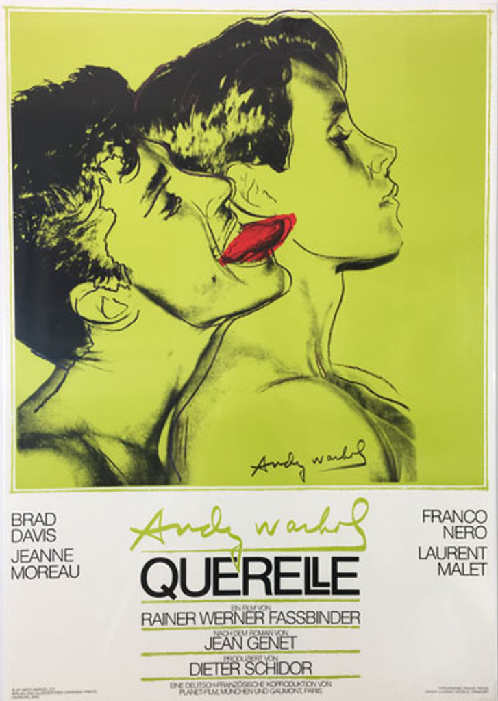 Querelle (bright green) original advertisement lithography vintage poster by Andy Warhol from 1982 Germany. Created for a poster for Rainer Fassbinders last film. Shows a couple on chartreuse green background.