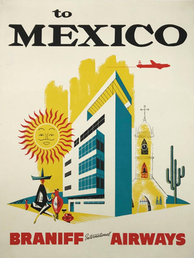 Braniff International Airways To Mexico City original American 1959 vintage travel poster.