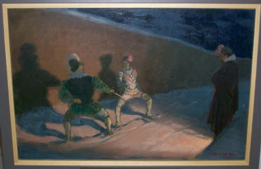 Original oil on board Le Duel  by Mauzan from 1936 France