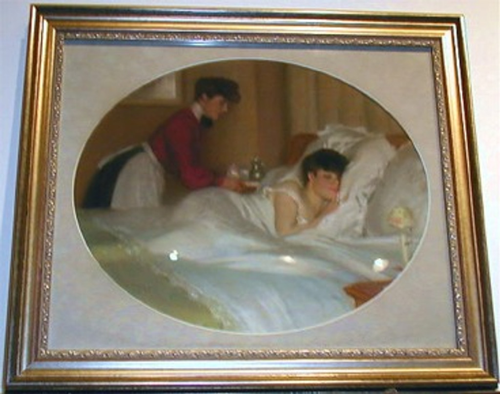 French Original Gouache by Weily from 1890's France. Features woman sleeping in a bad and a maid serving her breakfast.