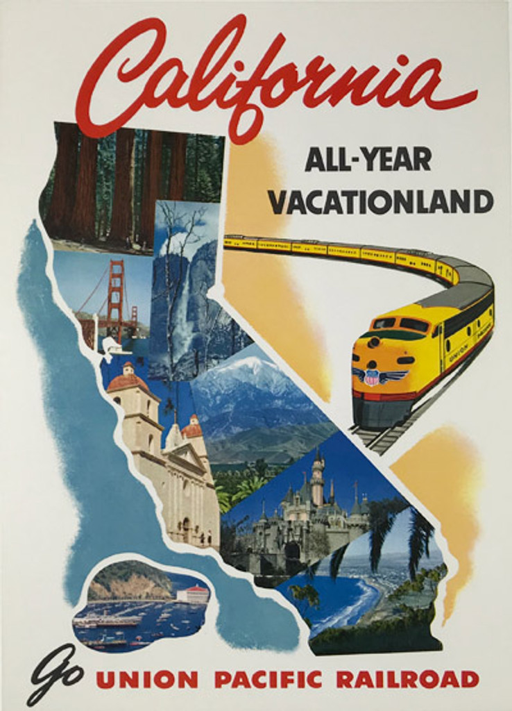 Go Union Pacific Railroad California All Year Vacationland Original American mid century moder travel poster from 1949.