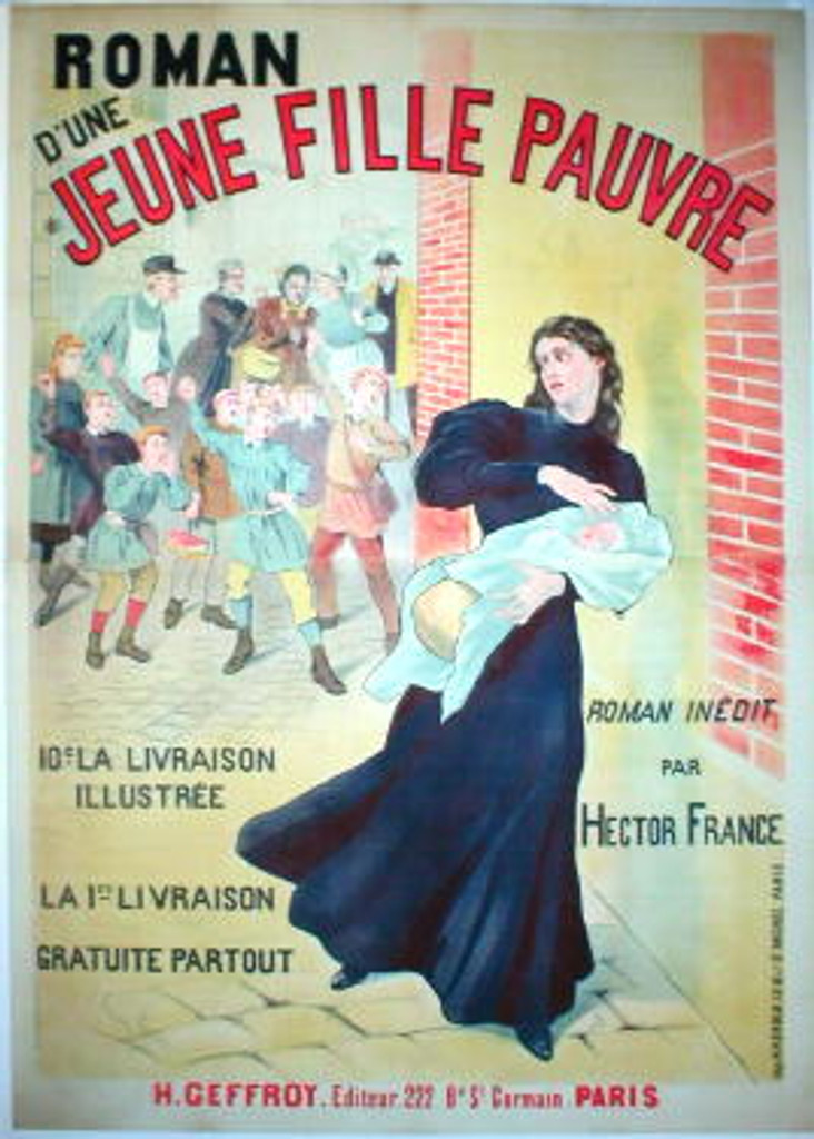 Jeune Fille Pauvre turn of century original vintage poster by E. C. Guyot from 1897 France. Features a woman holding a child running from crowd of people...