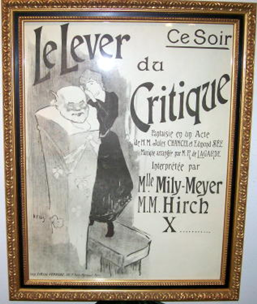Le Lever du Critique original vintage poster by Ibels from 1896 France. Advertising theater play with woman dress in black dress resting her head on a white statue.