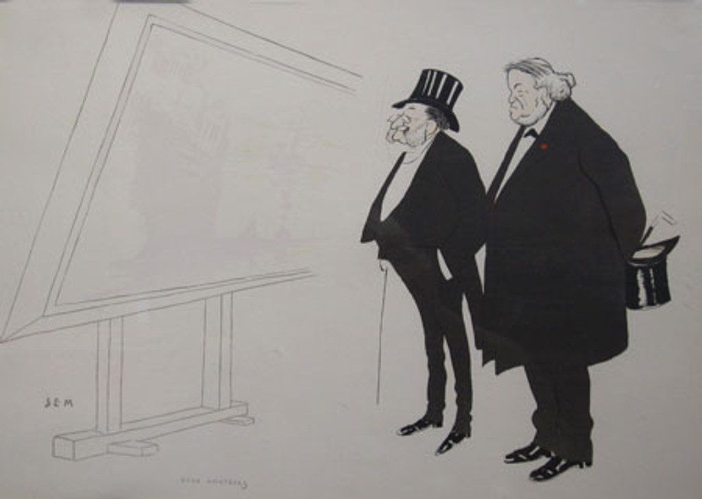 Pouchoir Caricature original horizontal vintage poster by Sem 1900 France. Shows two old men standing in front of drawing board.