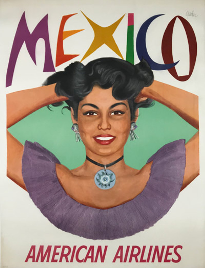 Mexico American Airlines Original Travel Vintage Poster by A. Parker from 1960 USA.