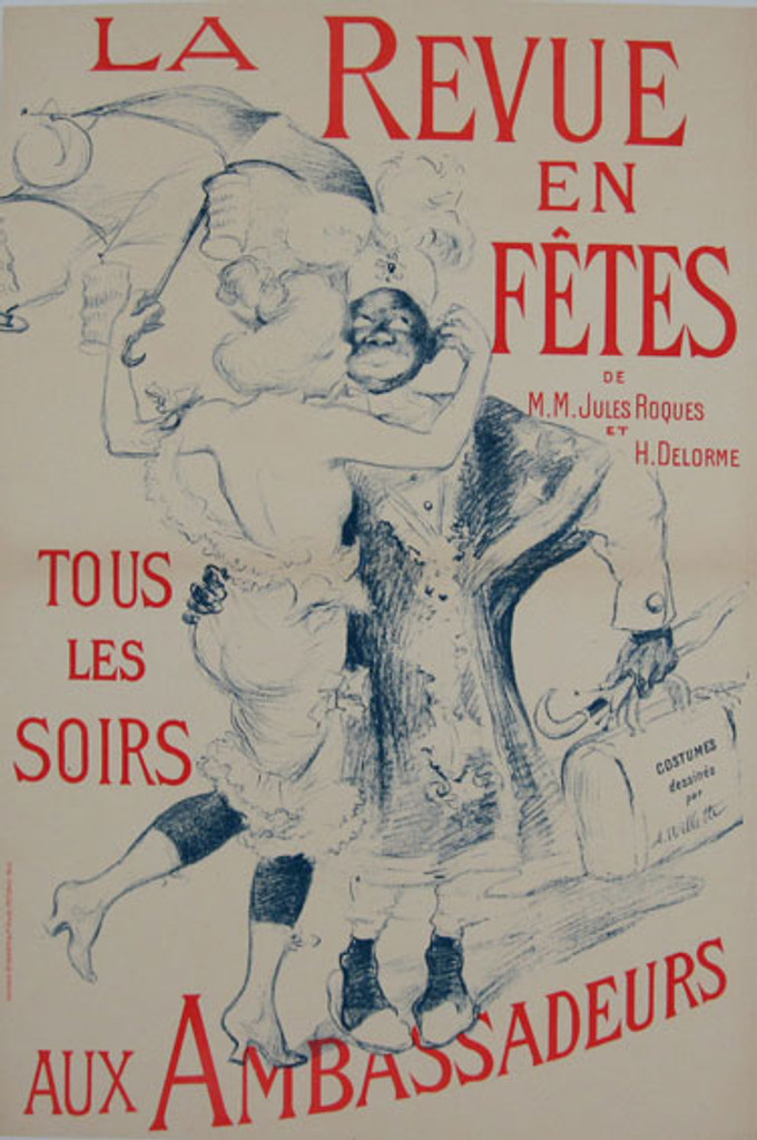 Aux Ambassadeurs La Revue en Fetes original vintage poster from 1898 by artist Willette.