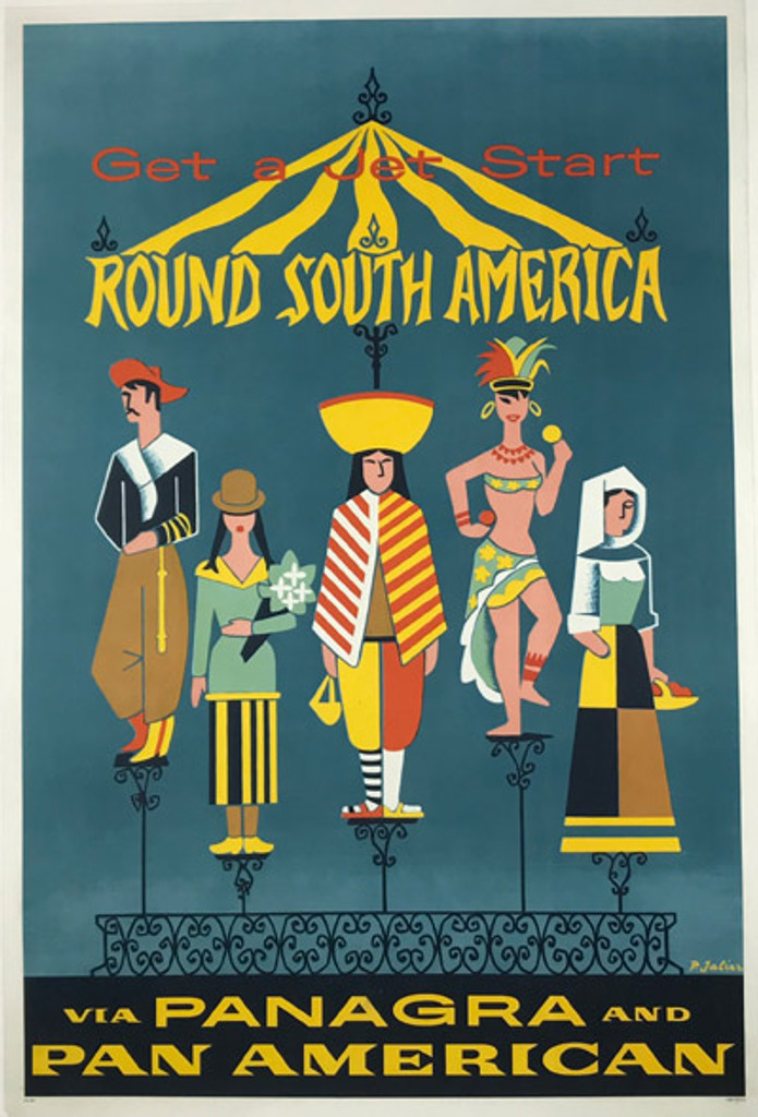 Get a Jet Start Round South America Via Panagra And Pan American Airlines Original Travel Poster from 1957 by P. Jalier.