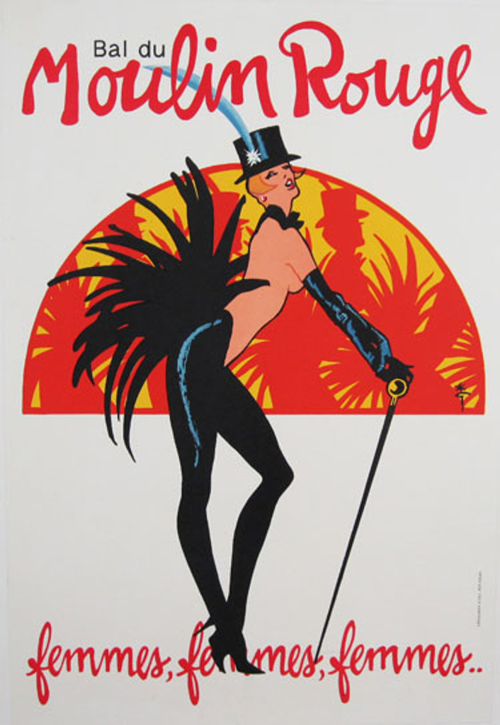Bal du Moulin Rouge femmes, femmes, femmes..... original advertisement lithography antique poster by Gruau from 1972 France. Shows a topless dancer with a top hat, cane and feather tail.