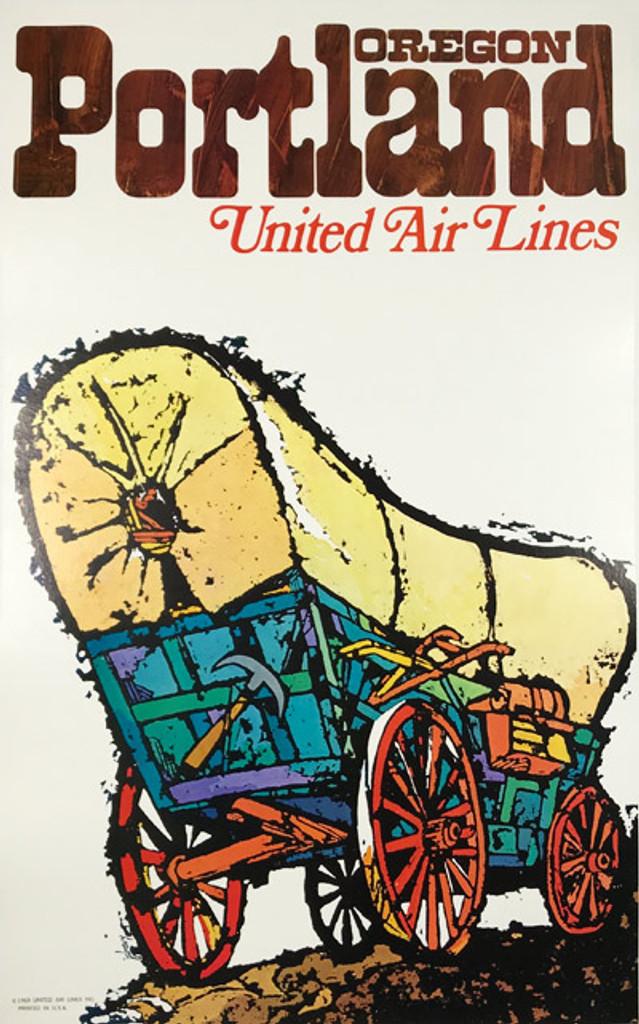 Original 1969 United Airlines to Portland Oregon Original Vintage Travel Poster by Jabavy Linen Backed