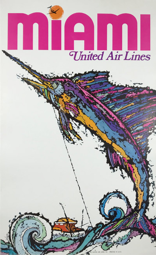 Miami Florida United Airlines Advertising Offset Lithograph Original American Travel Poster by James Jebavy from 1967 Linen Backed.