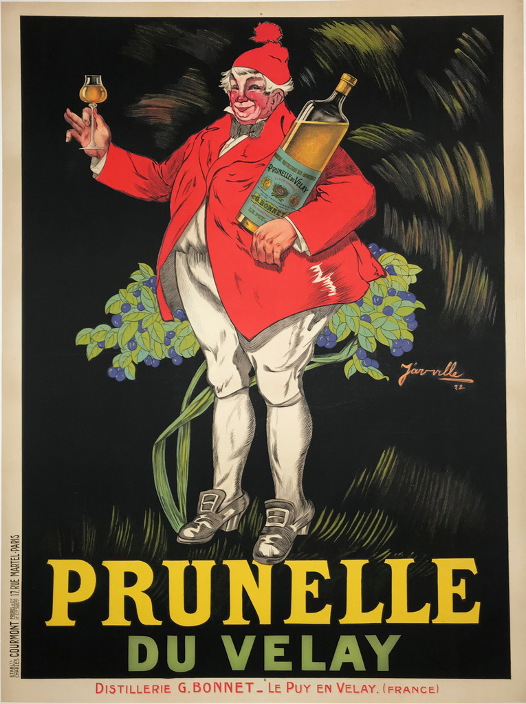 Prunelle Du Velay original poster from 1922 by Jarville. French wine and spirits poster features a fat man in a red jacket and hat standing in front of a bush holding a giant bottle of liquor and a glass.