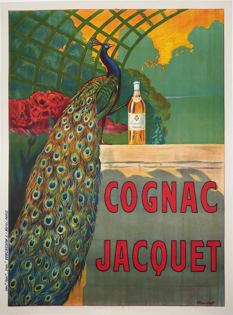 Cognac Jacquet by Bouchet  Original 1910 Vintage French Advertising Poster Linen Backed. This vertical French wine and spirits advertisement features a peacock in a garden with a bottle of liquor.