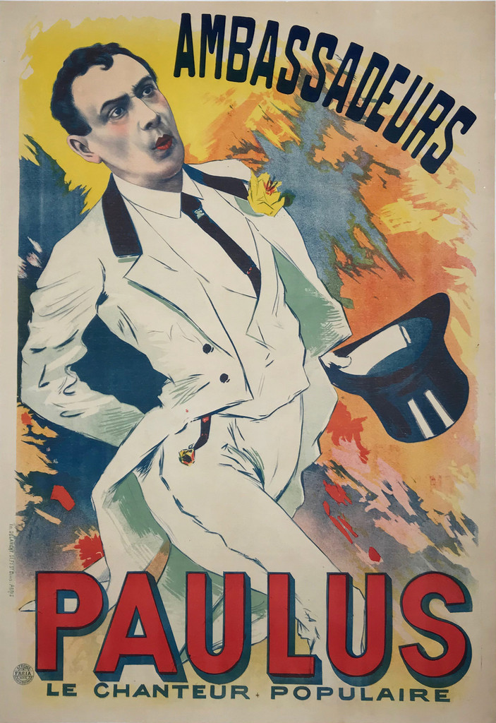 Ambassadeurs Paulus original vintage poster by Faria from 1899 France