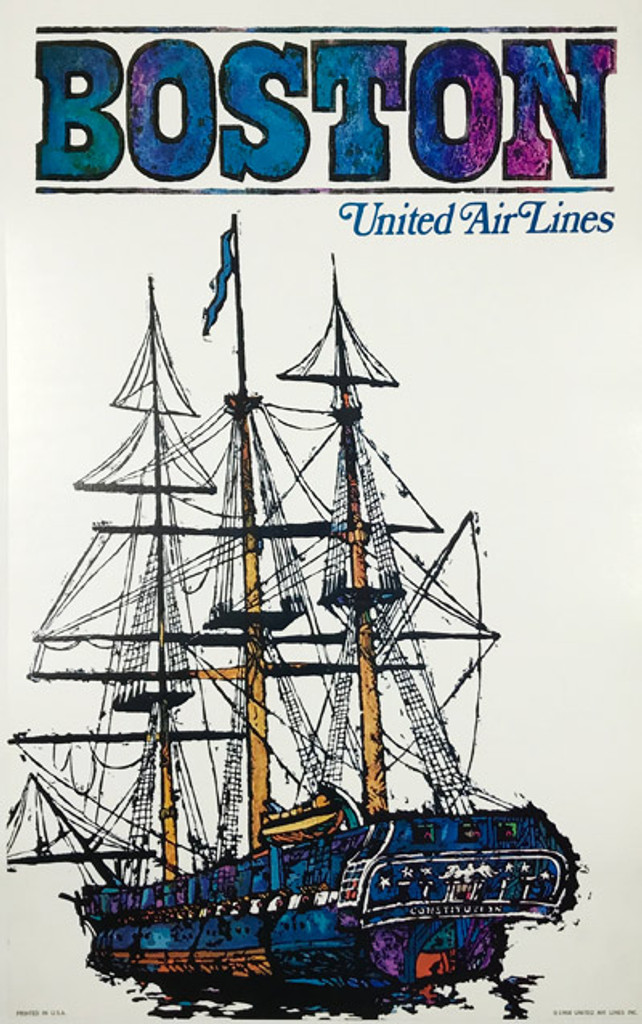 Original American 1968 Vintage Boston Massachusetts United Airlines Advertising Offset Lithograph Travel Poster by James Jabavy Linen Backed