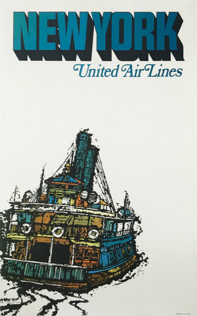 Original American 1967 Vintage New York United Airlines Advertising Offset Lithograph Travel Poster by Jabavy Linen Backed