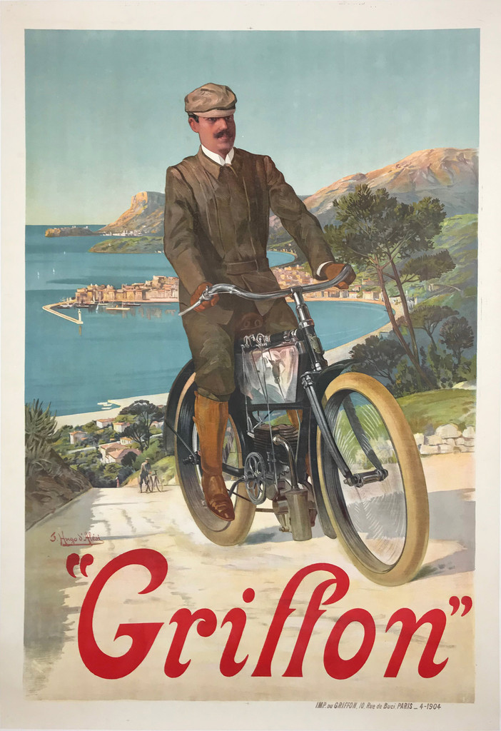Griffon Motorcycles D'Alesi French 1904 Antique Poster