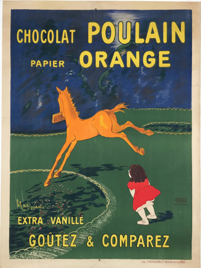 Chocolat Poulain Orange 1911 Original French Large Size Lithograph Poster by Cappiello