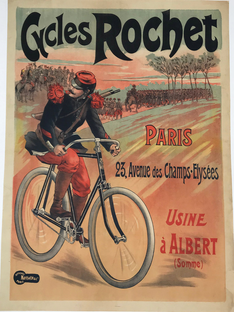 Cycles Rochet Paris France 1896 Antique Stone Lithograph Advertisement Poster by Phillippe Chapellier LinenBacked