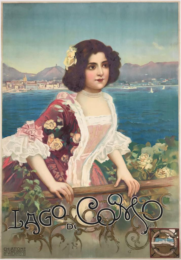Lago Di Como Chiattone original Italian travel poster by Gabriel Chiattone from 1900.
