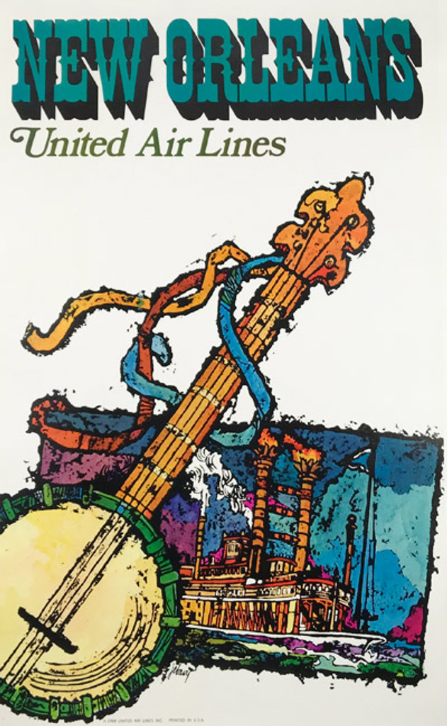 Original American 1968 Vintage New Orleans Louisiana United Airlines Advertising Offset Lithograph Travel Poster by Jabavy Linen Backed