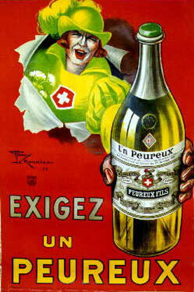 Exigez un Peureux by H. Le Monnier 1925 France. French wine and spirits poster features a swiss guard in green breaking through the red background holding out a bottle. Original Antique Posters.