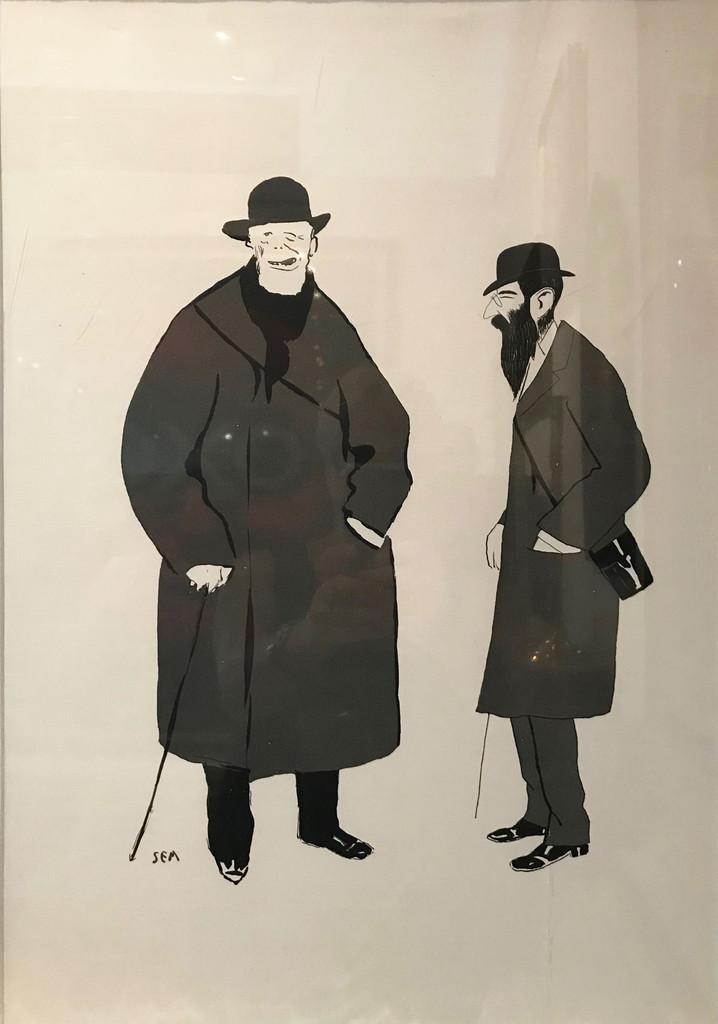 Pouchoir Caricature by Sem 1900 France. Original Vintage Poster.