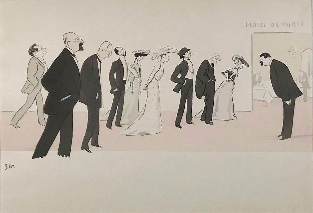 Hotel De Paris Pouchoir Caricature by Sem