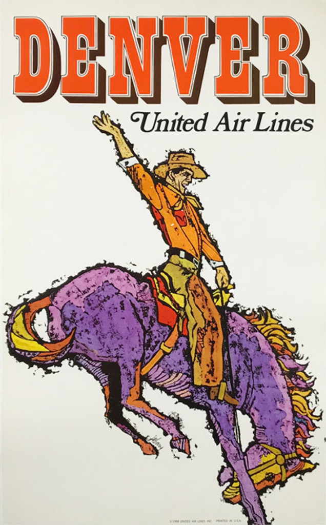 Original American 1968 Vintage Denver Colorado United Airlines Advertising Offset Lithograph Travel Poster by Jabavy Linen Backed