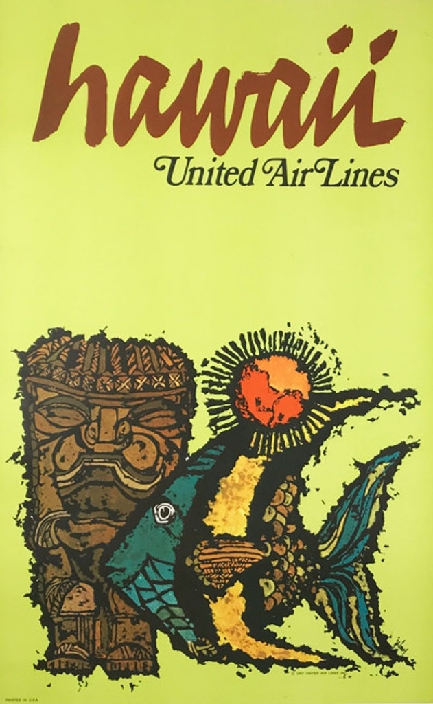 Original American 1967 Vintage Hawaii United Airlines Advertising Offset Lithograph Travel Poster by Jabavy Linen Backed