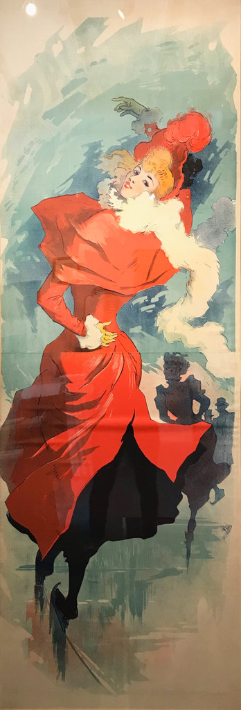 Palais De Glace original vintage posters by Jules Cheret from 1893 France. Shows a woman in red dress and hat ice skating with shadowed people skating behind her.