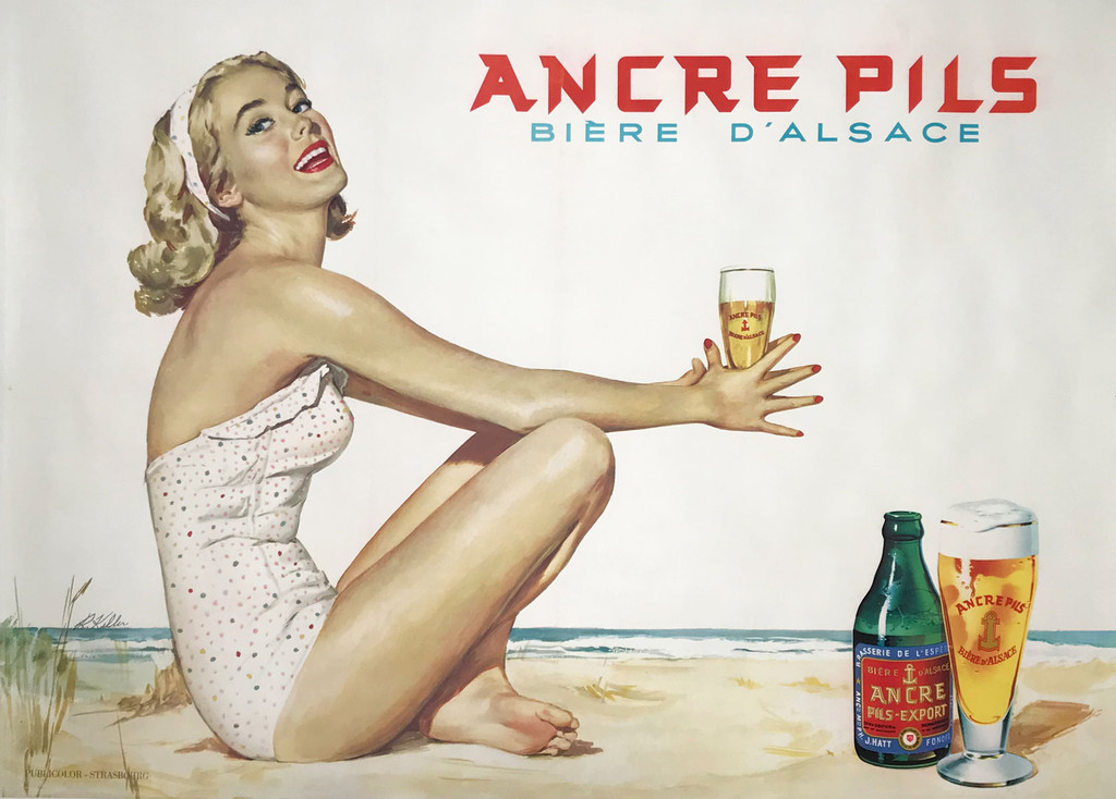 Ancre Pils Biere D Alsace original French Beer lithograph advertisement vintage poster.