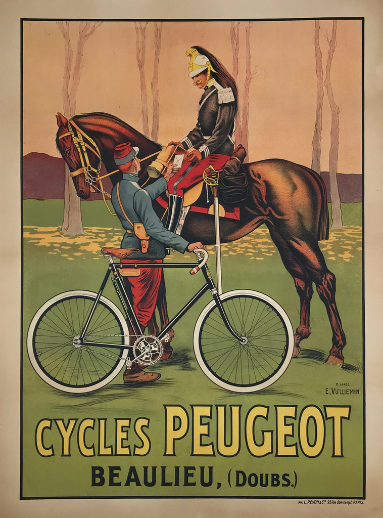Cycles Peugeot Original 1904 French Antique Stone Lithograph Advertisement Poster by E. Vulliemin  Linen Backed