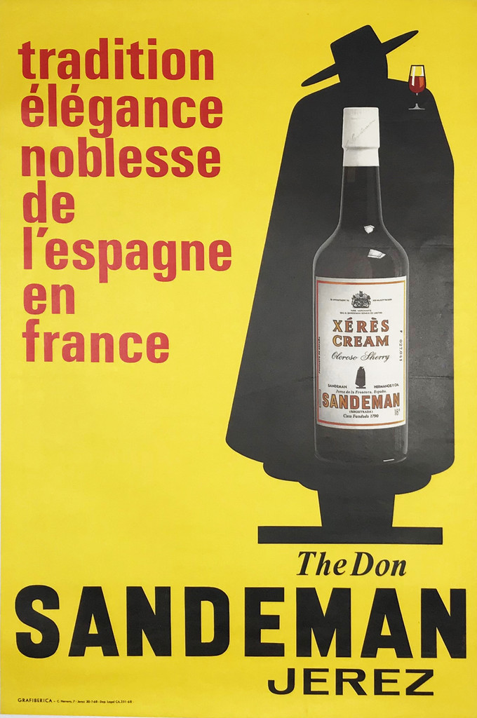 Sandeman Port Sherry Original French Advertisement Poster
