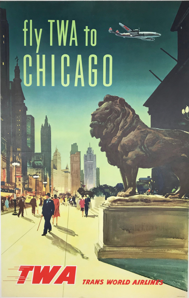 Fly TWA to Chicago original 1957 American travel poster.