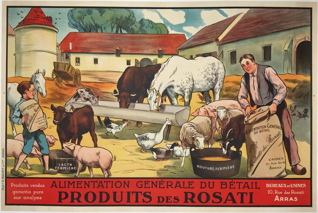 Produits Des Rosati original 1920 French product advertisement antique poster.