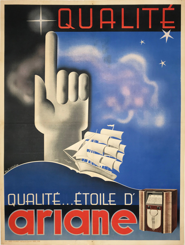 Ariane Radio original 1936 French product advertisement antique poster.