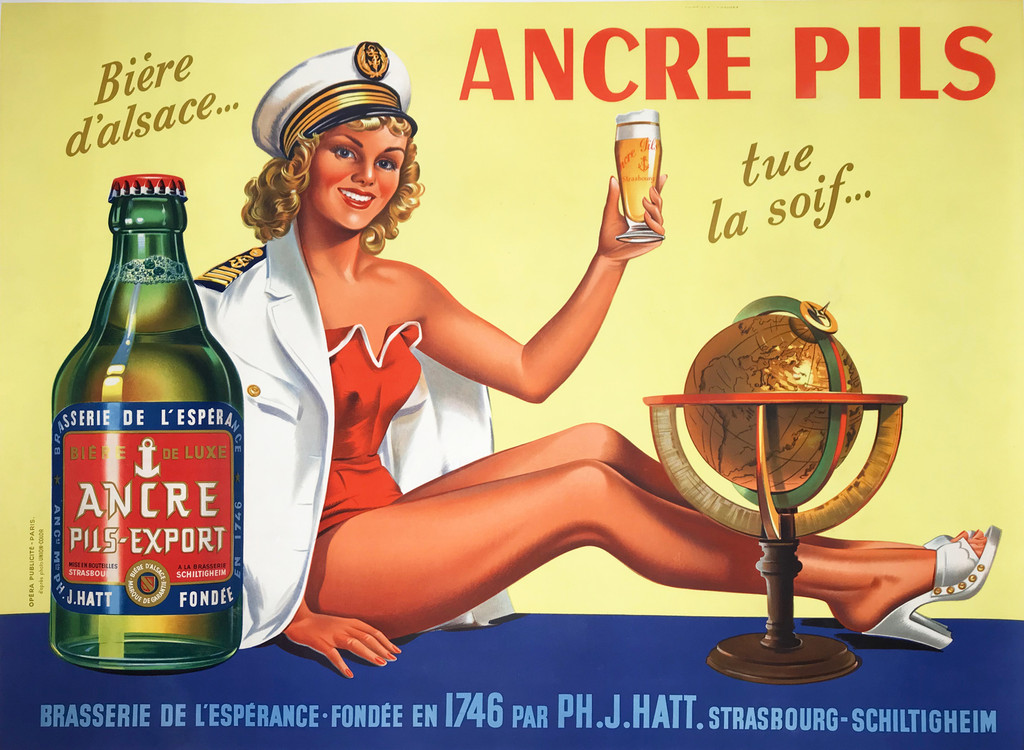 Ancre Pils Export Biere D Alsace original French Beer lithograph advertisement vintage poster.